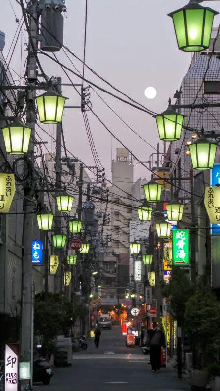 Almost full moon in Asakusa Tokyo