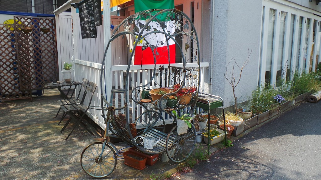 Tiny garden on a bicycle in Tokyo