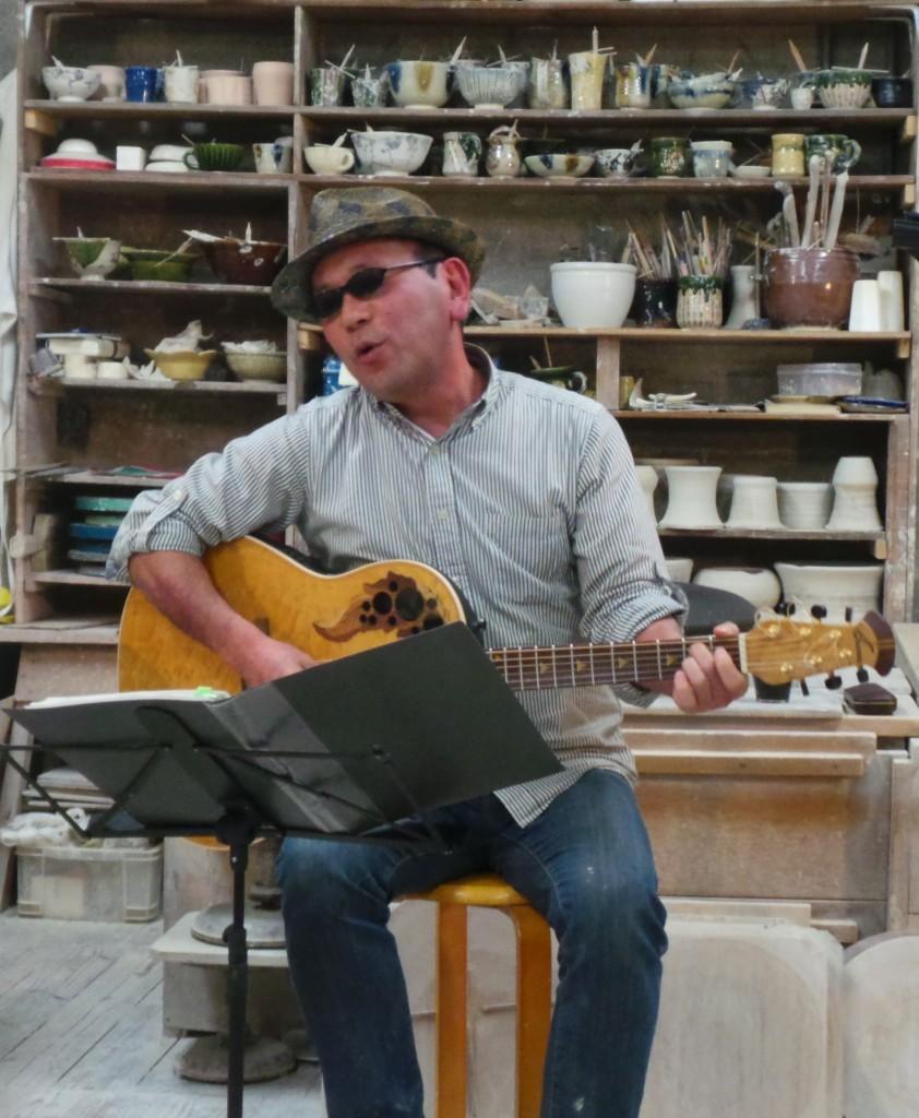 Hiro: potter, teacher & singer guitar player at Kasen's pottery band