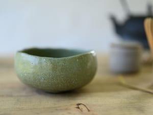 Chawan for matcha in natural green