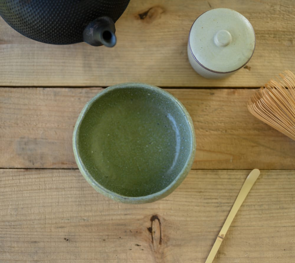 Chawan for matcha in natural green